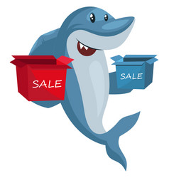 Shark with sale boxes on white background vector