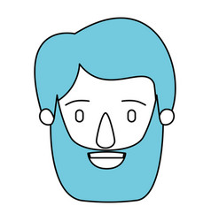 Silhouette cartoon front view face face man with vector