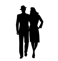 Silhouette couple walking wearing retro style vector