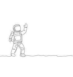 Single continuous line drawing young cosmonaut vector