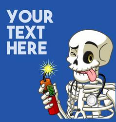 skeleton holding a dynamite vector image