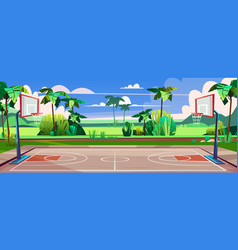 Street basketball court with green palms vector