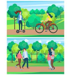 summer park activities woman riding bike vector image