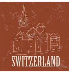 Switzerland landmarks Retro styled image vector image