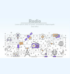 thin line art radio poster banner template vector image