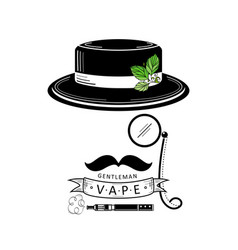 Vape shop logo design with stylized smoking man vector