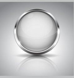 white button with chrome frame round glass shiny vector image