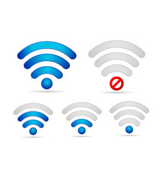 Wifi signal strength icon set vector