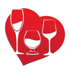 Wine glass inside heart frame vector image