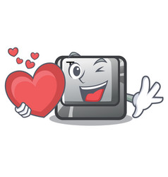 With heart button t in keyboard cartoon vector