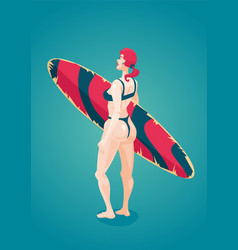 young girl with surfing board woman in a bikini vector image