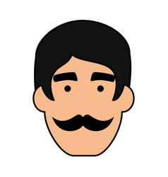 young man head with mustache avatar character vector image