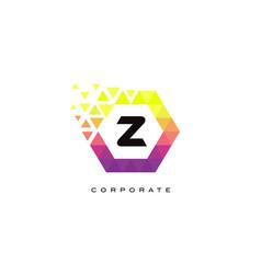 z colorful hexagon shaped letter logo design vector image