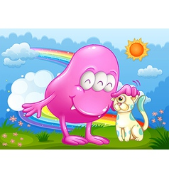 A pink monster and a cat at the hilltop with a vector image