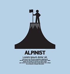 Alpinist Standing With Flag And Pole On The Top Of vector image