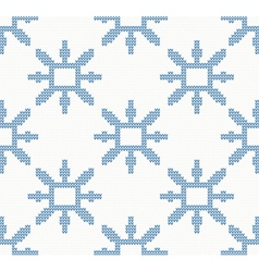Christmas knitted pattern with blue snowflakes vector image vector image