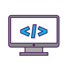 Computer desktop with progamming language vector