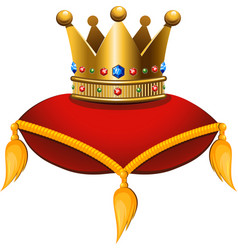 gold crown on a crimson cushion vector image