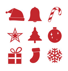 simple red christmas ornament icon set vector image vector image