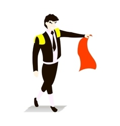 Bullfighter in a black suit and tie with capein vector image