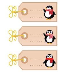 cute christmas penguin tags vector image