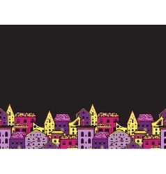 Houses Border Night vector image vector image