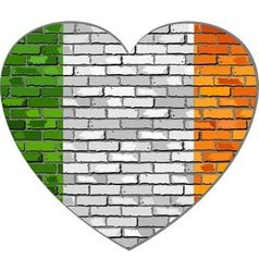 Ireland flag on a brick wall in heart shape vector