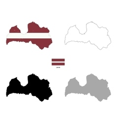 Latvia country black silhouette and with flag on vector image