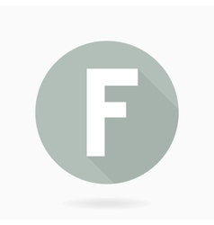 Letter F White Icon With Flat Design vector image vector image