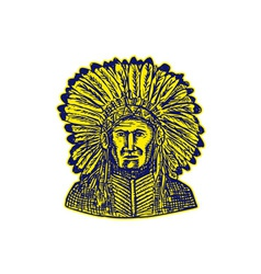 Native American Indian Chief Warrior Etching vector image vector image