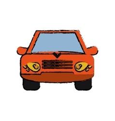 Orange car vehicle transportation front view vector image