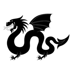 Silhouette of heraldic dragon vector