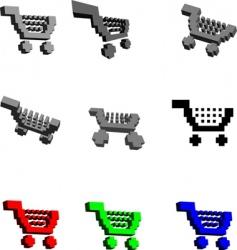 3d shopping carts vector image