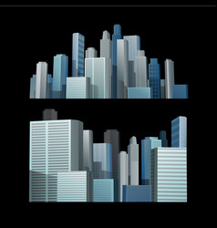 blue building city in front of black background vector image vector image