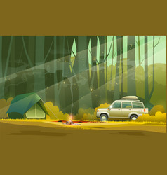 camp and car in forest vector image