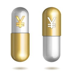 Capsule Pills with Yen Signs vector image