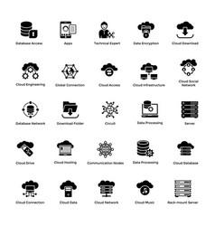 cloud computing glyph icons set 1 vector image vector image