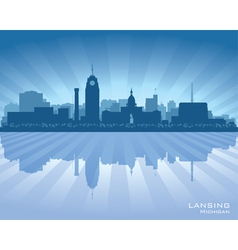 Lansing Michigan city skyline silhouet vector image