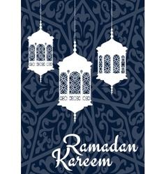 Ramadan Kareem greeting card with oriental vector image vector image