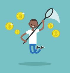 young black character mining bitcoins conceptual vector image vector image