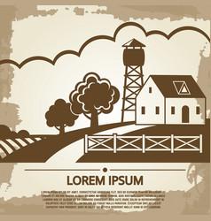 grunge farm background farm house vector image