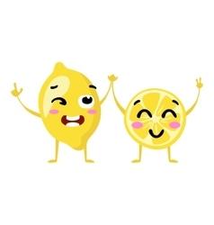 Lemon Cute fruit character couple isolated vector image