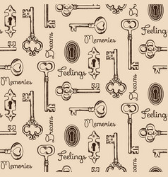 seamless pattern of the old keys and keyholes vector image