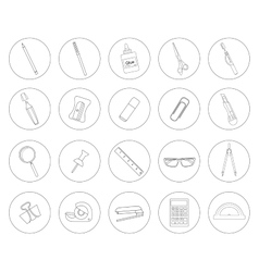 Stationery tools Office linear icons set vector image vector image