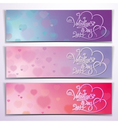 Three Valentine 2014 Banners Purple Pink vector image vector image