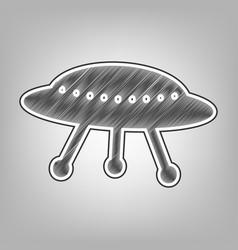 ufo simple sign pencil sketch imitation vector image vector image