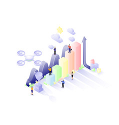 26isometric teamwork statistics vector image