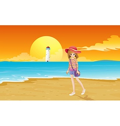 A fashionable young girl at beach vector
