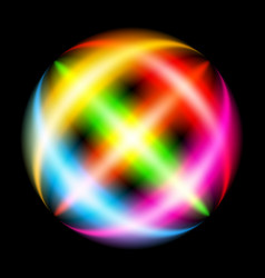 Abstract rainbow ray sphere on black vector