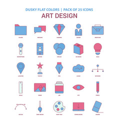 art and design icon dusky flat color - vintage 25 vector image